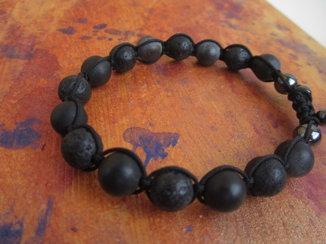 men's bracelet black lava