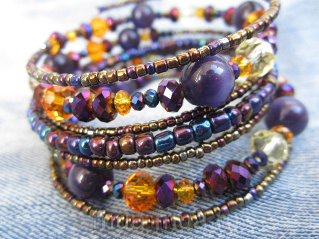 violet purple Color Seed Bead Memory Wire Bracelet