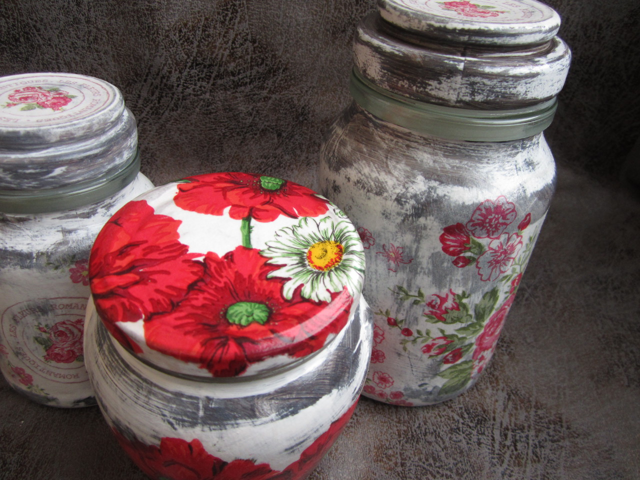 Glass decoupage Storage Jar крышки