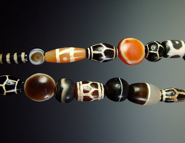 A mix of ancient decorated and undecorated agates and carnelians