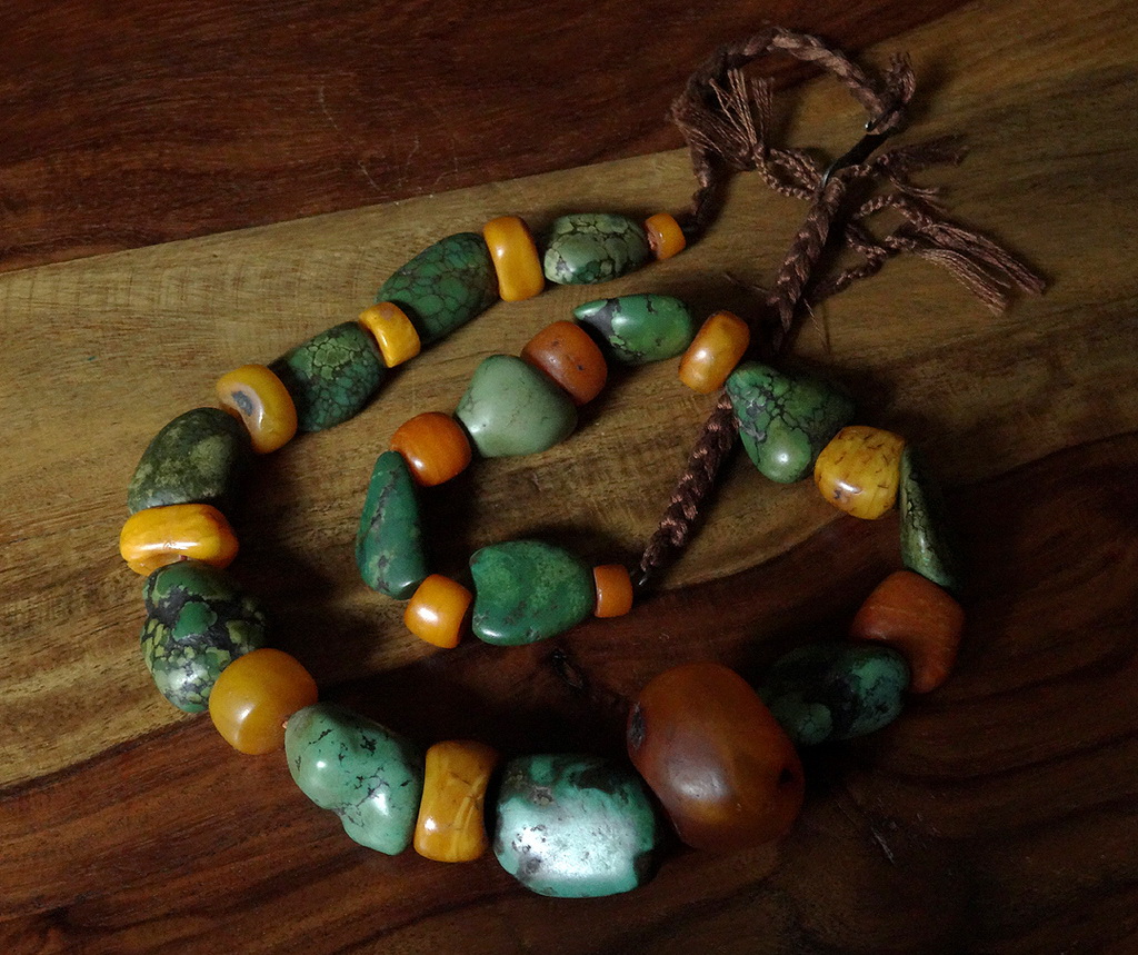 Antique Turquoise & Amber Necklace