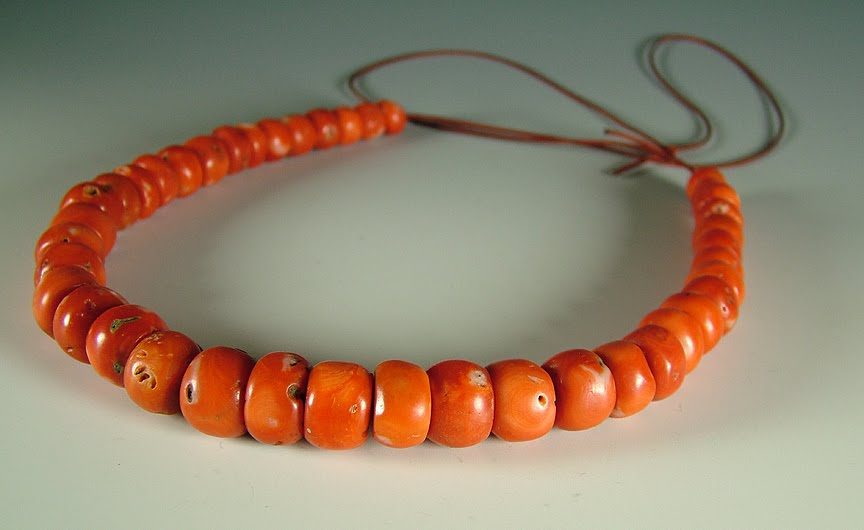 Antique natural undyed coral . Traded from the mediterranean